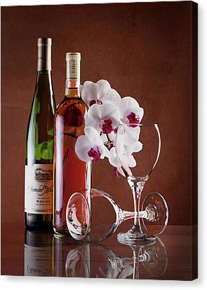 Wine Bottle Art Canvas Print - Wine And Orchids Still Life by Tom Mc Nemar