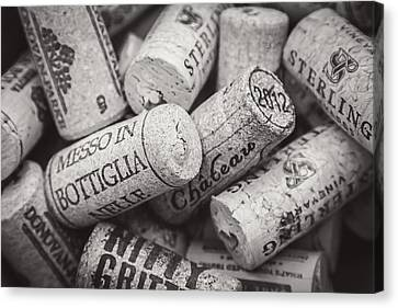 Wine Corks Black And White Canvas Print