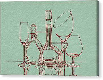 Wine Glasses Canvas Print - Wine Decanters With Glasses by Tom Mc Nemar