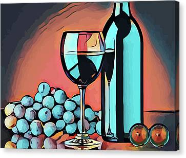 Wine Glass Bottle And Grapes Abstract Pop Art Canvas Print