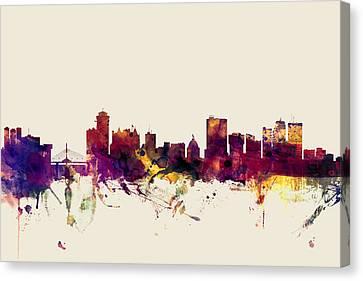 Michael Canvas Print - Winnipeg Canada Skyline by Michael Tompsett