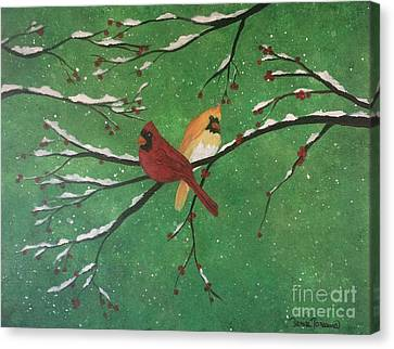 Canvas Print featuring the painting Winter Cardinals by Denise Tomasura