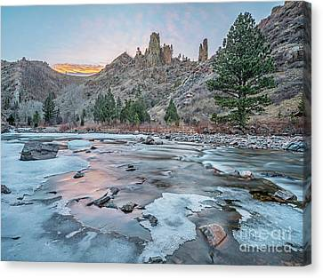 winter dusk over Poudre Canyon Canvas Print