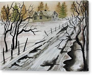 Winter Farmhouse Canvas Print by Jimmy Smith