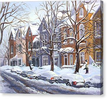 Winter In The City  Canvas Print by Margit Sampogna