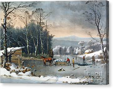 Winter In The Country Canvas Print - Winter In The Country by George Durrie