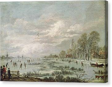 Winter Landscapes Canvas Print - Winter Landscape by Aert van der Neer