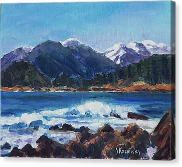 Canvas Print featuring the painting Winter Mountains Alaska by Yulia Kazansky