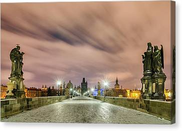 Winter Night At Charles Bridge, Prague, Czech Republic Canvas Print