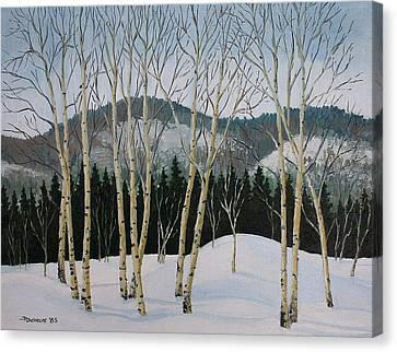 Winter Poplars Canvas Print by Richard De Wolfe