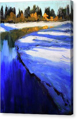 Canvas Print featuring the painting Winter River by Nancy Merkle