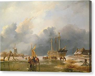 Winter Scene Canvas Print by Andreas Schelfhout