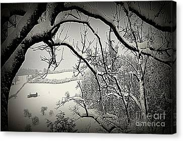 Canvas Print featuring the photograph Winter Scene In Switzerland by Susanne Van Hulst