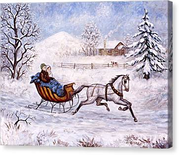Winter Sleigh Ride Canvas Print by Linda Mears