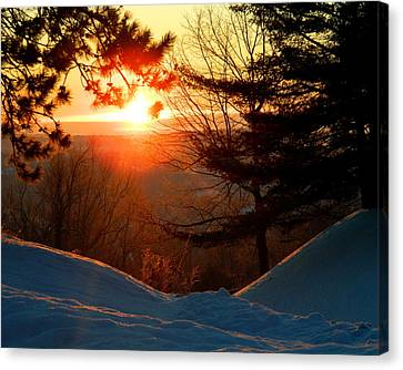Winter Sunrise Canvas Print by Laurie Breton