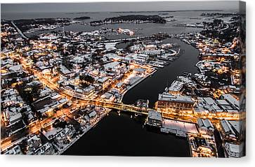 Winter Twilight In Mystic Connecticut Canvas Print by Petr Hejl