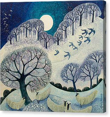 Snowy Night Night Canvas Print - Winter Woolies by Lisa Graa Jensen