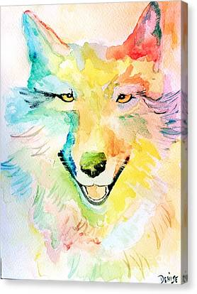 Canvas Print featuring the painting Wolfie by Denise Tomasura