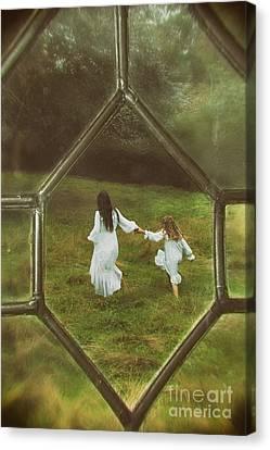 Woman And Child Through Window Canvas Print by Amanda Elwell