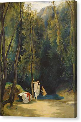 Woman Bathing In The Park Of Terni Canvas Print