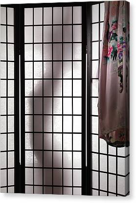 Woman Behind Shoji Screen Canvas Print by Oleksiy Maksymenko