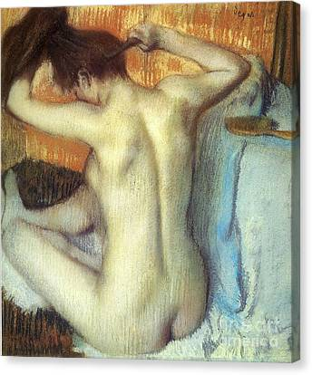 Woman Combing Her Hair Canvas Print - Woman Combing Her Hair by Degas