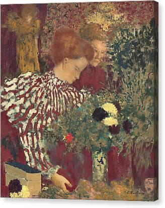 Woman In A Striped Dress Canvas Print