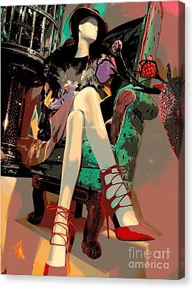 Woman In Chair Canvas Print by Ed Weidman