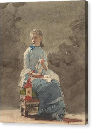 Woman Sewing Canvas Print by Winslow Homer