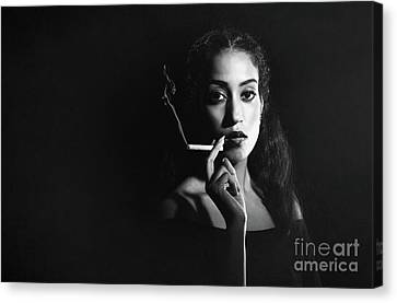 Woman Smoking Canvas Print by Amanda Elwell