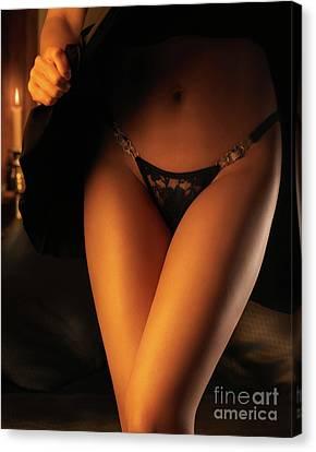Woman Wearing Black Lacy Panties Canvas Print