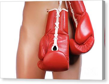 Woman With Boxing Gloves Canvas Print by Oleksiy Maksymenko