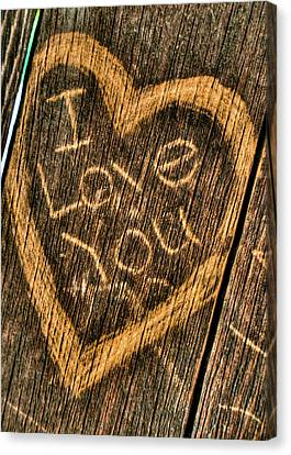 Wood Carving I Love You Canvas Print by Connie Cooper-Edwards