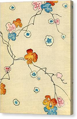 Woodblock Print Of Fall Leaves Canvas Print by Japanese School
