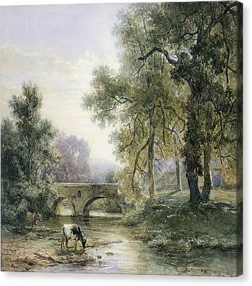 Wooded Landscape With Stone Bridge Over A River Canvas Print by Willem Roelofs