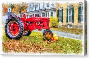 Woodstock Vermont Red Tractor Canvas Print by Edward Fielding
