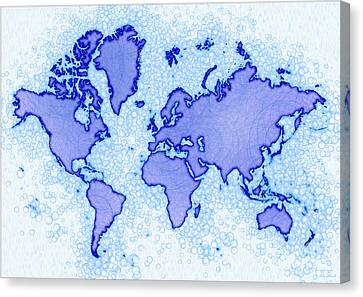 World Map Airy In Blue And White Canvas Print by Eleven Corners