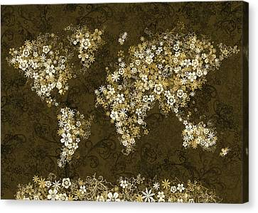World Map Floral 8 Canvas Print