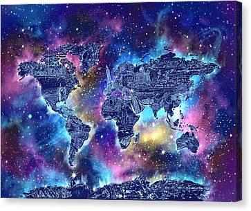 Stellar Canvas Print - World Map Galaxy 4 by Bekim Art