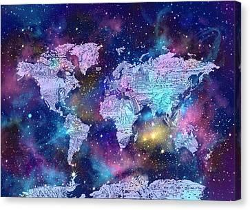 Stellar Canvas Print - World Map Galaxy 9 by Bekim Art