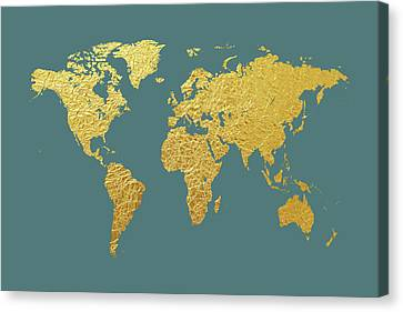 World Map Gold Foil Canvas Print by Michael Tompsett