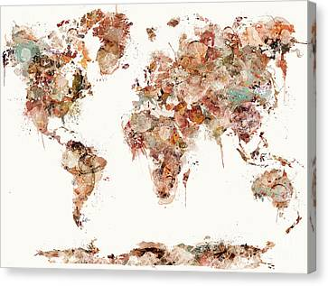Canvas Print featuring the painting World Map Watercolors by Bri B