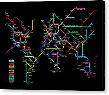 World Metro Map Canvas Print by Michael Tompsett