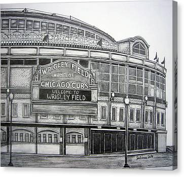 Wrigley Field Canvas Print by Juliana Dube