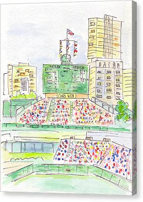 Wrigley Field Sign Canvas Print by Matt Gaudian