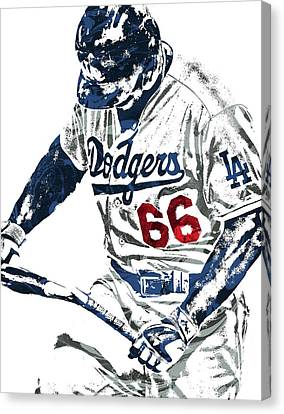 Yasiel Puig Los Angeles Dodgers Pixel Art Canvas Print by Joe Hamilton