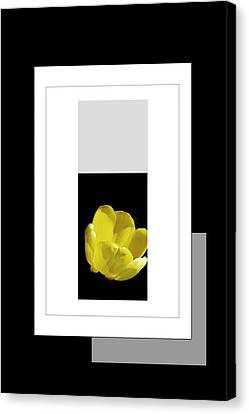 Digital Installation Art Canvas Print - Yellow Tulip 2 Of 3 by Tina M Wenger