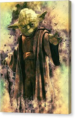 Character Portraits Canvas Print - Yoda by Taylan Apukovska