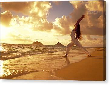 Yoga At Sunrise Canvas Print