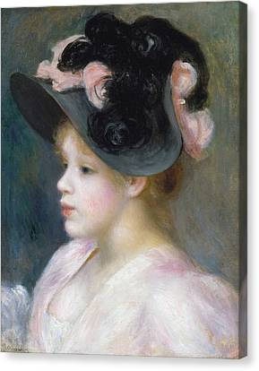 Young Girl In A Pink-and-black Hat Canvas Print by Auguste Renoir